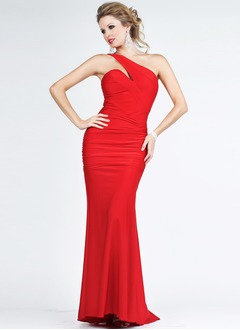 Trumpet/Mermaid One-Shoulder Sweep Train Jersey Evening Dress With Ruffle