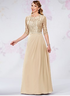 A-Line/Princess Scoop Neck Floor-Length Chiffon Mother of the Bride Dress With Appliques Lace