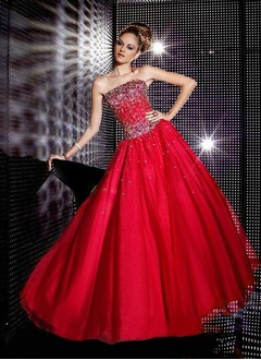 Ball-Gown Strapless Floor-Length Organza Prom Dress With Beading Sequins