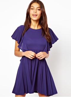 A-linje Off-shoulder halsudskæring Kort/Mini Chiffon Homecoming Kjole