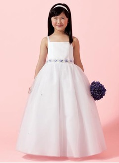 A-Line/Princess Strapless Floor-Length Organza Satin Flower Girl Dress With Sash Beading