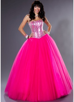 Ball-Gown Strapless Floor-Length Tulle Quinceanera Dress With Sequins