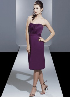 Sheath/Column Strapless Sweetheart Knee-Length Satin Bridesmaid Dress With Ruffle
