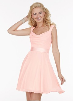 A-Line/Princess Cowl Neck Short/Mini Chiffon Bridesmaid Dress