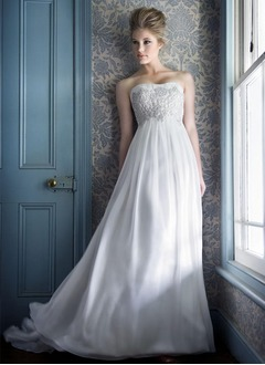 Empire Strapless Sweetheart Court Train Chiffon Wedding Dress With Ruffle Lace Beading