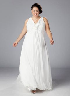 A-Line/Princess V-neck Floor-Length Chiffon Wedding Dress With Ruffle Flower(s)