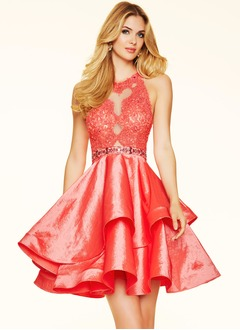 A-Line/Princess Scoop Neck Short/Mini Taffeta Cocktail Dress With Beading Appliques Lace Sequins