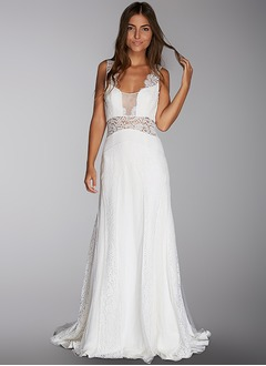 A-Line/Princess Scoop Neck Sweep Train Lace Wedding Dress With Lace
