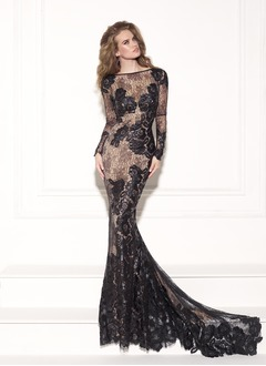 Trumpet/Mermaid Scoop Neck Chapel Train Lace Evening Dress