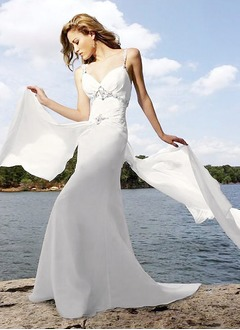 A-Line/Princess V-neck Watteau Train Chiffon Wedding Dress With Beading Appliques Lace Cascading Ruffles