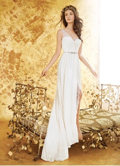 A-Line/Princess V-neck Sweep Train Chiffon Wedding Dress With Lace Beading