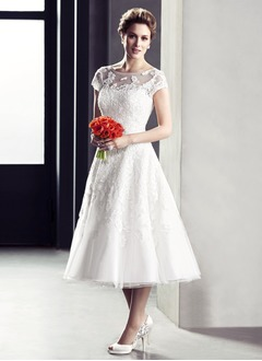 A-Line/Princess Scoop Neck Tea-Length Tulle Lace Wedding  ...