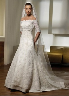 A-Line/Princess Off-the-Shoulder Court Train Lace Wedding Dress With Beading
