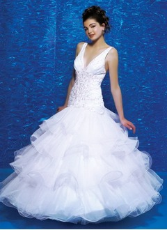 A-Line/Princess V-neck Floor-Length Organza Satin Quinceanera Dress With Ruffle Beading Sequins