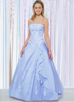 Ball-Gown Strapless Floor-Length Taffeta Quinceanera Dress With Lace Beading Cascading Ruffles