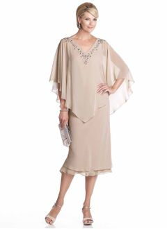 Sheath/Column V-neck Tea-Length Chiffon Mother of the Bride Dress With Beading