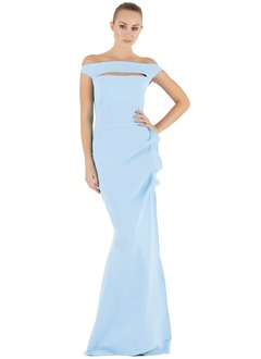 Trumpet/Mermaid Off-the-Shoulder Sweep Train Satin Evening Dress With Ruffle
