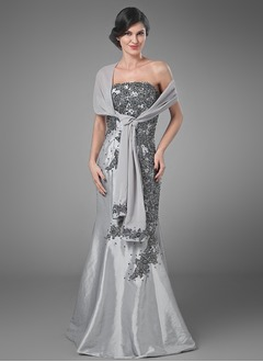 Trumpet/Mermaid Strapless Floor-Length Taffeta Mother of the Bride Dress With Beading Appliques Lace