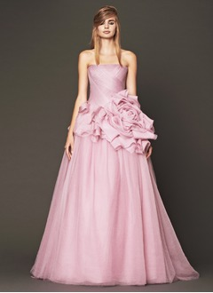 A-Line/Princess Strapless Sweep Train Tulle Wedding Dress With Ruffle Flower(s)