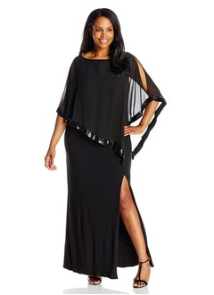 Sheath/Column Scoop Neck Floor-Length Chiffon Mother of the Bride Dress With Sequins Split Front