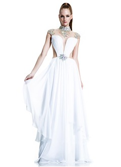 A-Line/Princess High Neck Sweep Train Chiffon Evening Dress With Beading