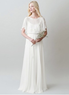 A-Line/Princess Scoop Neck Sweep Train Chiffon Wedding Dress With Appliques Lace