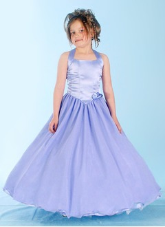 A-Line/Princess Halter Floor-Length Organza Satin Flower Girl Dress