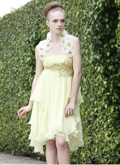 A-Line/Princess Halter Asymmetrical Chiffon Charmeuse Homecoming Dress With Ruffle Beading