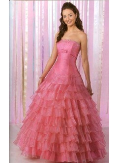 Ball-Gown Strapless Floor-Length Organza Satin Quinceanera Dress With Beading