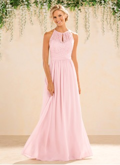 A-Line/Princess Scoop Neck Floor-Length Chiffon Lace Bridesmaid Dress With Ruffle (0075094188)