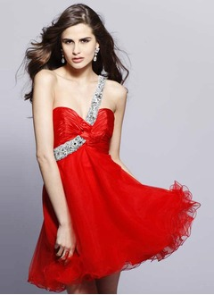 A-Line/Princess One-Shoulder Short/Mini Organza Charmeuse Homecoming Dress With Ruffle Beading