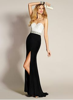 Sheath/Column Strapless Sweetheart Sweep Train Chiffon Satin Evening Dress With Beading Split Front