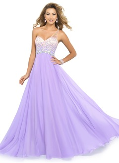 A-Line/Princess One-Shoulder Sweep Train Chiffon Prom Dress With Beading Sequins