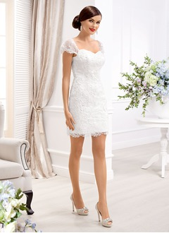 Sheath/Column Sweetheart Short/Mini Lace Wedding Dress