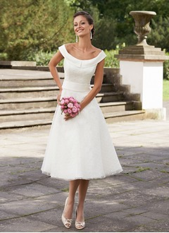 A-Line/Princess Off-the-Shoulder Tea-Length Satin Tulle Wedding Dress With Bow(s)