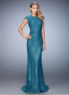 Sheath/Column Scoop Neck Sweep Train Lace Evening Dress With Beading