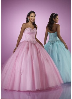 Ball-Gown Sweetheart Floor-Length Satin Tulle Quinceanera Dress With Lace Beading
