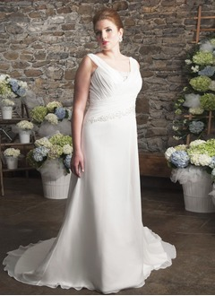 Sheath/Column V-neck Sweep Train Chiffon Wedding Dress With Ruffle Beading