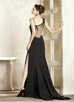 Trumpet/Mermaid V-neck Sweep Train Chiffon Evening Dress With Appliques Lace