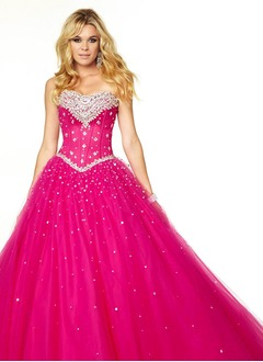 Ball-Gown Strapless Sweetheart Floor-Length Satin Tulle Prom Dress With Beading