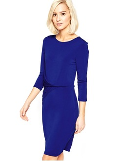 Sheath/Column Scoop Neck Knee-Length Jersey Cocktail Dress With Ruffle