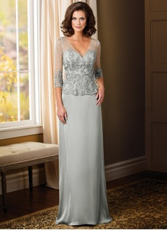 A-Line/Princess V-neck Sweep Train Satin Chiffon Mother of the Bride Dress With Beading Appliques Lace