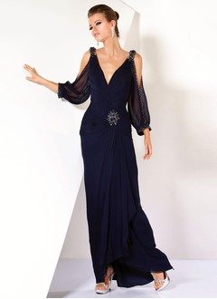 Sheath/Column V-neck Asymmetrical Chiffon Mother of the Bride Dress With Ruffle Beading