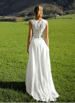 A-Line/Princess V-neck Court Train Chiffon Wedding Dress With Lace