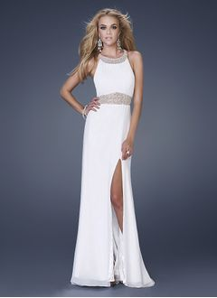 Sheath/Column Scoop Neck Sweep Train Chiffon Evening Dress With Beading Split Front