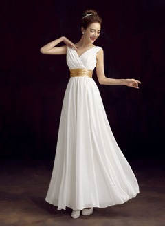 Empire V-neck Floor-Length Charmeuse Evening Dress With Ruffle Sash