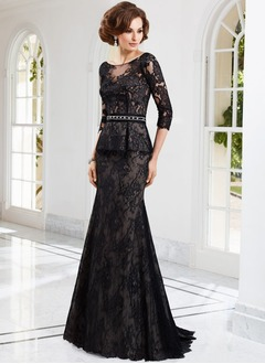 Trumpet/Mermaid Scoop Neck Sweep Train Tulle Lace Evening Dress With Beading