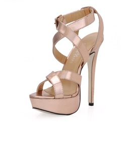 Patent Leather Stiletto Heel Sandals Platform Peep Toe shoes  ...