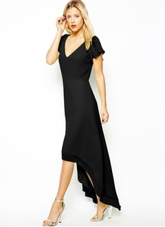 A-Line/Princess V-neck Asymmetrical Chiffon Evening Dress With Cascading Ruffles