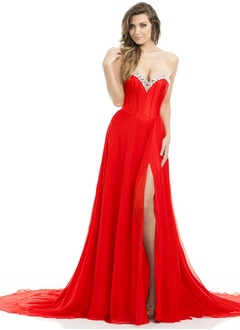 A-Line/Princess Strapless Sweetheart Court Train Chiffon Charmeuse Evening Dress With Beading Split Front